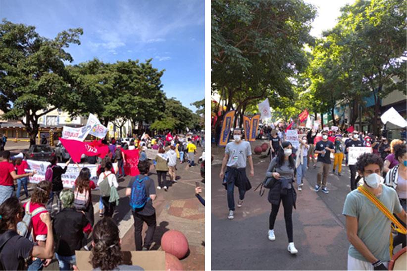 Manifestantes em caminhada pela Avenida Brasil - Fotos: Shirley Barros Felippe